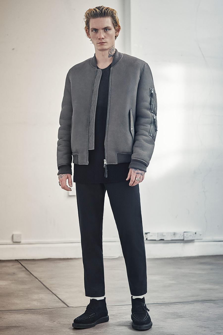 Rogan shearling bomber jacket, £598 Pico trouser, £128 Bower Boot, £158