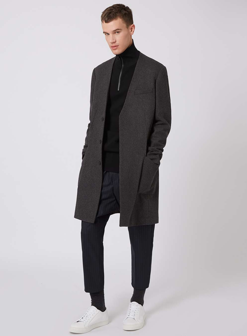LUX wool-blend duster coat ,  £120   LUX funnel neck jumper , £40  LUX   pinstripe cropped trousers ,  £40