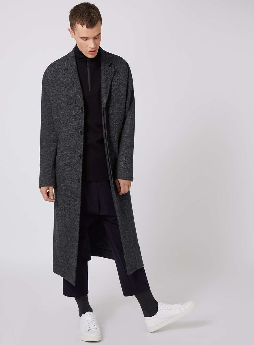 LUX mélange wool rich coat ,  £130   LUX funnel neck jumper , £40  LUX cropped trousers ,  £40