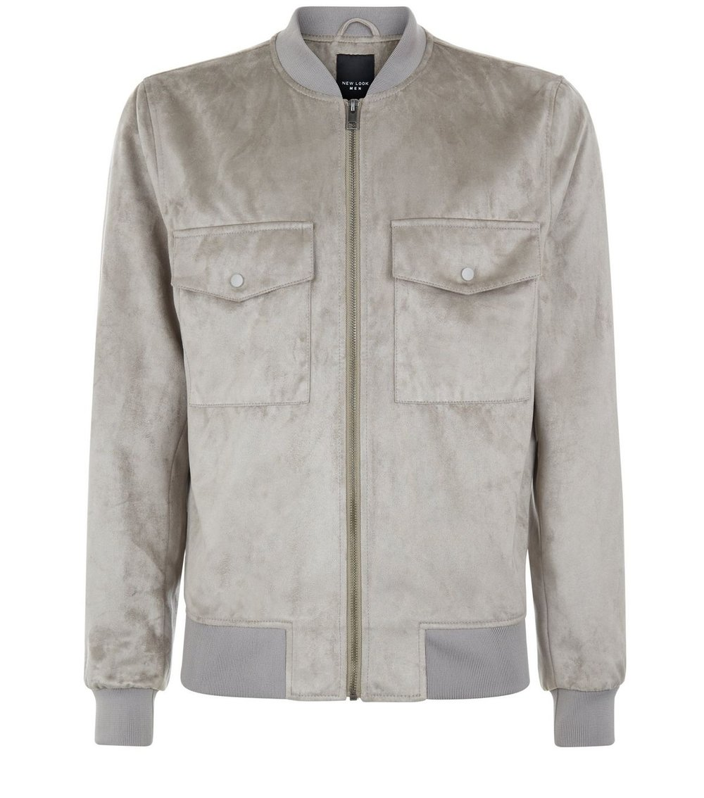 Stone Suedette Pocket Front Bomber Jacket,£39.99 ( newlook.com )