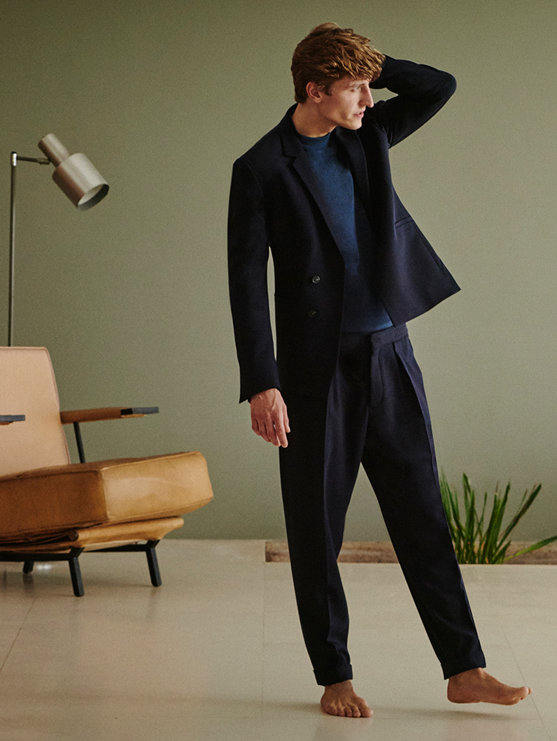 Double-breasted wool blazer, £175 Saddle-shoulder top, £49 Relaxed turn-up trousers, £89