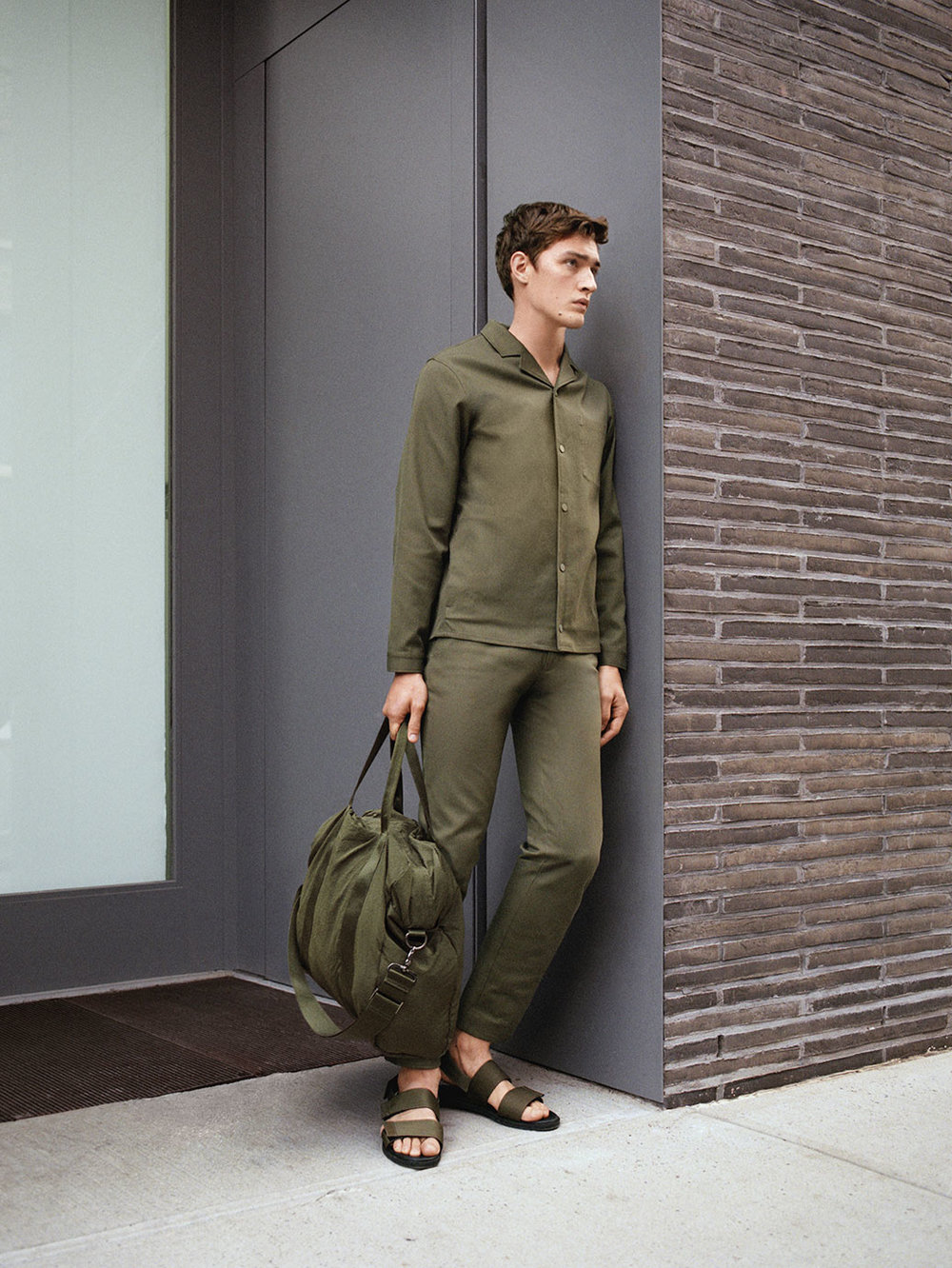 Button-up canvas jacket, £99 Cotton-stretch chinos, £59 Lightweight fabric bag, £55