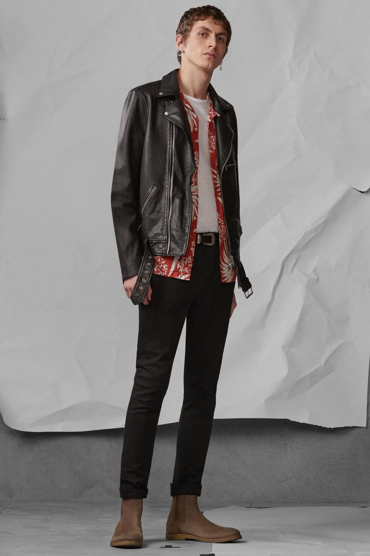 Kaho Leather Biker Jacket ,£345  Koloa Shirt , £85  Tonic Crew T-Shirt , £28  Reiner Boot , £158