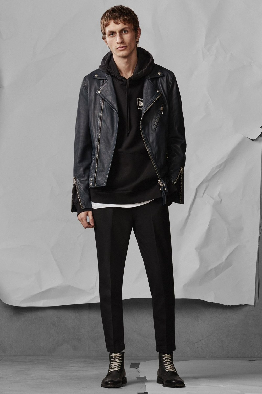 Carver Leather Biker Jacket , £380  Distroy Hoody , £98  Tallis Trouser , £108  Leven Boot , £168