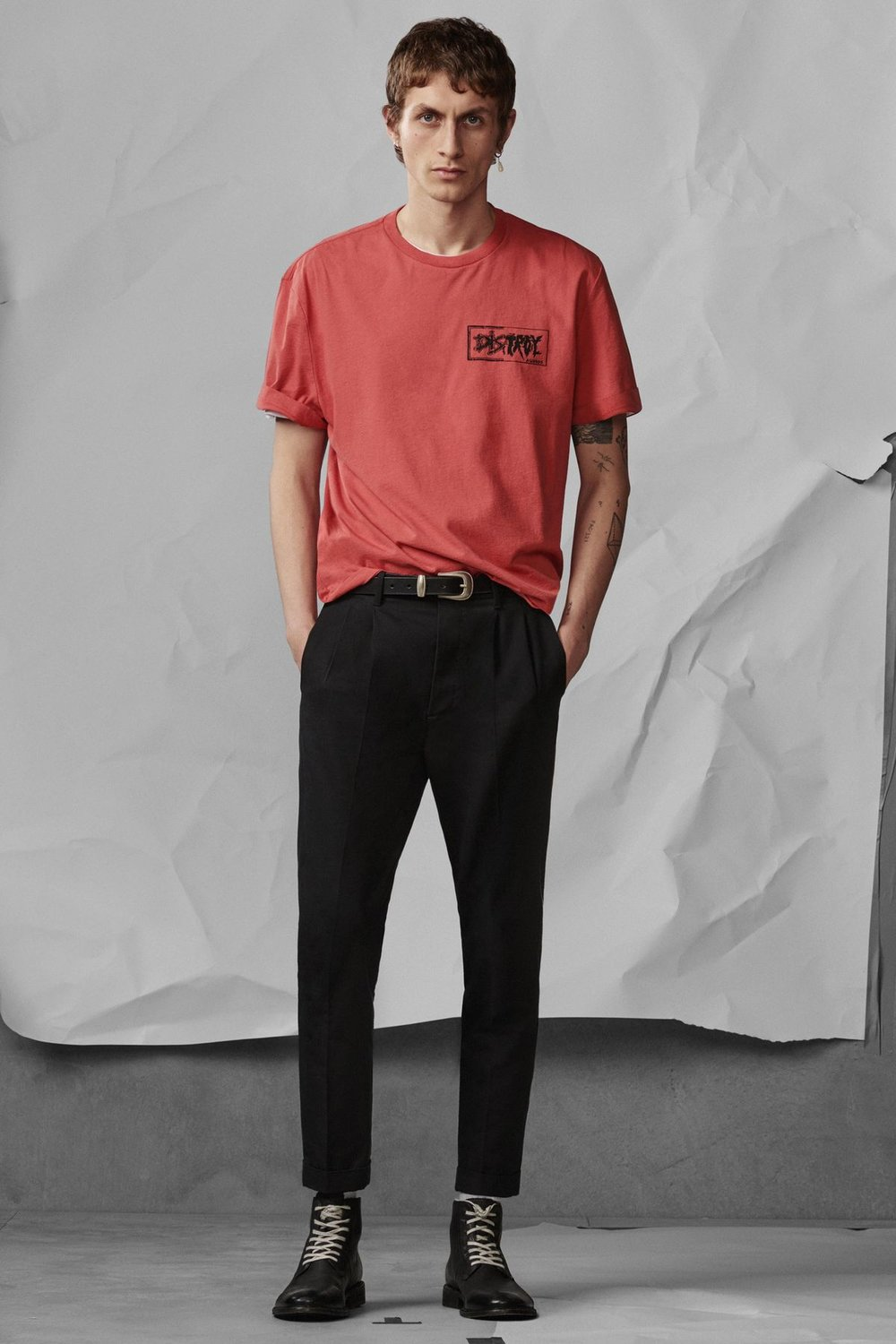 Distroy Crew T-Shirt , £45  Tallis Trouser , £108  Leven Boot , £168