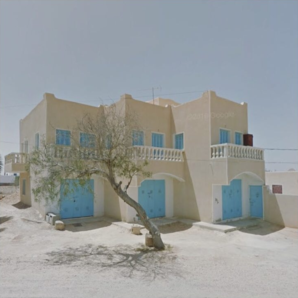 Jacqui Kenny,  Google Street View Scene - Triple blue doors in Guellaia, Medenine, Tunisia.  2017
