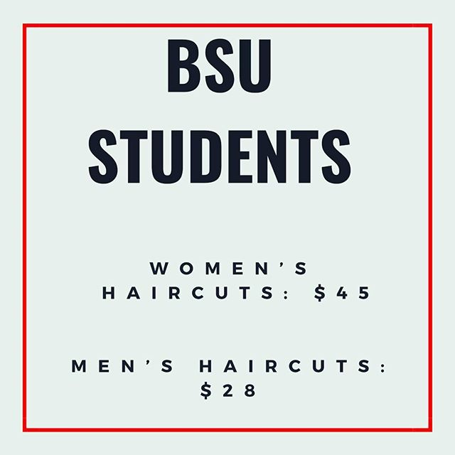 Hey BSU! We are now offering women's cuts for $45 and men's cuts for $28 • We are also now a NO TIP SALON FOR STUDENTS! • • • • #BSU #BridgewaterState #Bridgewater #bridgewaterstateuniversity #bridgewatersalons #college #student #studentdeals #massachusetts