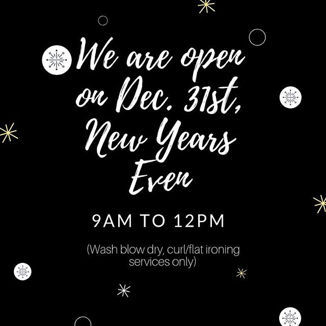 Hello Everyone! Baron and Fig will be OPEN on Monday, December 31st, New Years Eve from 9am to 12 (noon) for that New Years Eve Blowout on your hair! • • • • #NYE NewYears #NewYear #bridgewaterma #NewYearsEve #2019 #hair #beauty #salon #hair #hairstyle #look