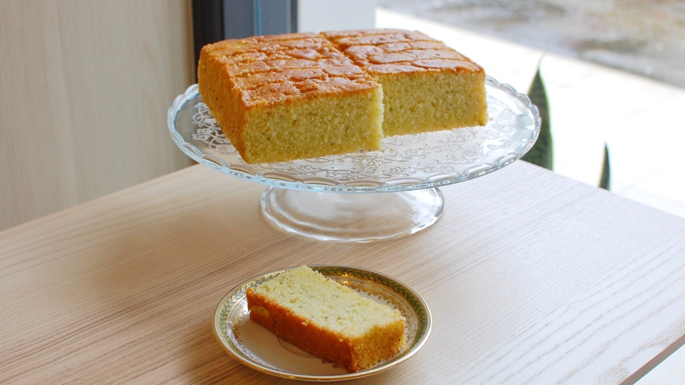 Kaffir Lime Butter Cake Slice