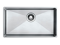 QX 4940 -                                UNDERMOUNT BOWL SQUARE 490 X440X200   WITH ROUND WASTE 90mm   BOWL SIZE: 450X400X200mmCUPBOARD SIZE: 490mm