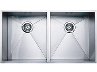 UM 776 Sqr -                                UNDERMOUNT DOUBLE BOWL775x455X200mmWITH 90mm WASTE FITTING   BOWL SIZES: 340x400x200mm  CUPBOARD SIZE:800mm