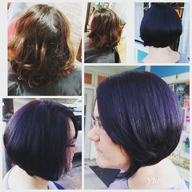 Before and After By @brookie27stylist  This beauty is a dark eggplant diagonal low stacked bob.  #eggplant #eastedgesalon #eastend #portlandhairstylist #bob #beauty #angledcut #portlandmaine