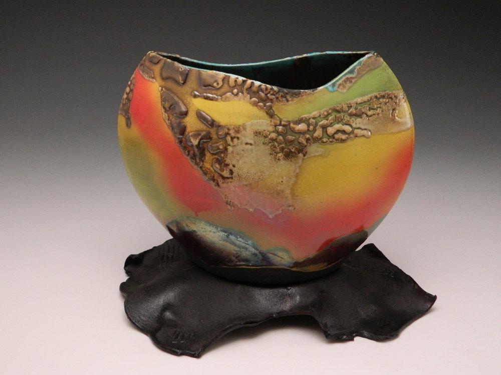 Pottery Raku Eclipse Santa Fe Sunset by Lambeth Marshall