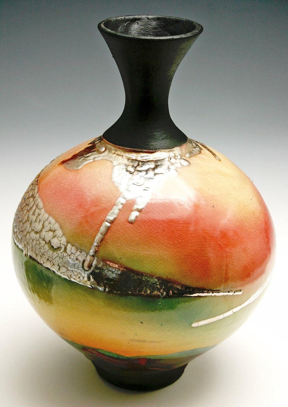 Pottery Raku Vase Tall Neck.jpg