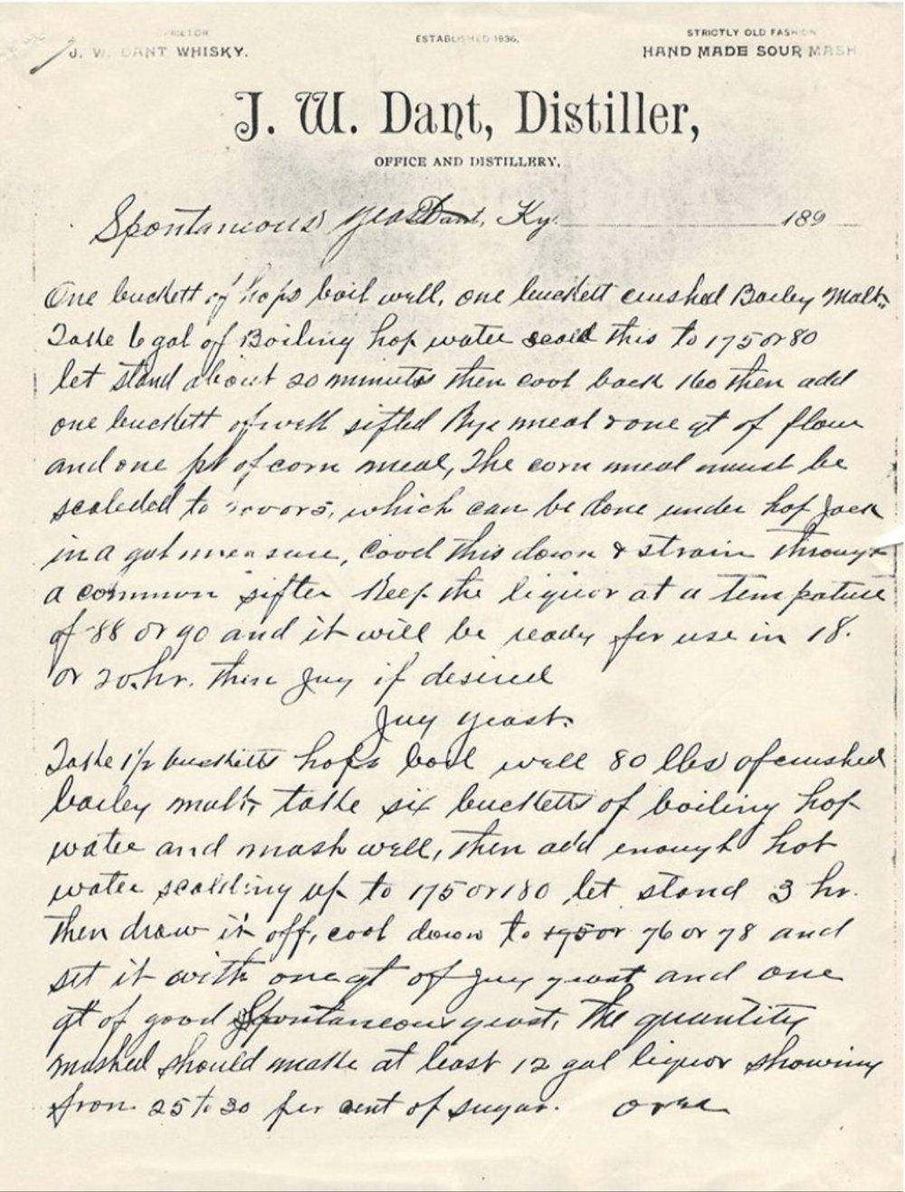 Hand written yeast recipes from J.W. Dent around 1890.