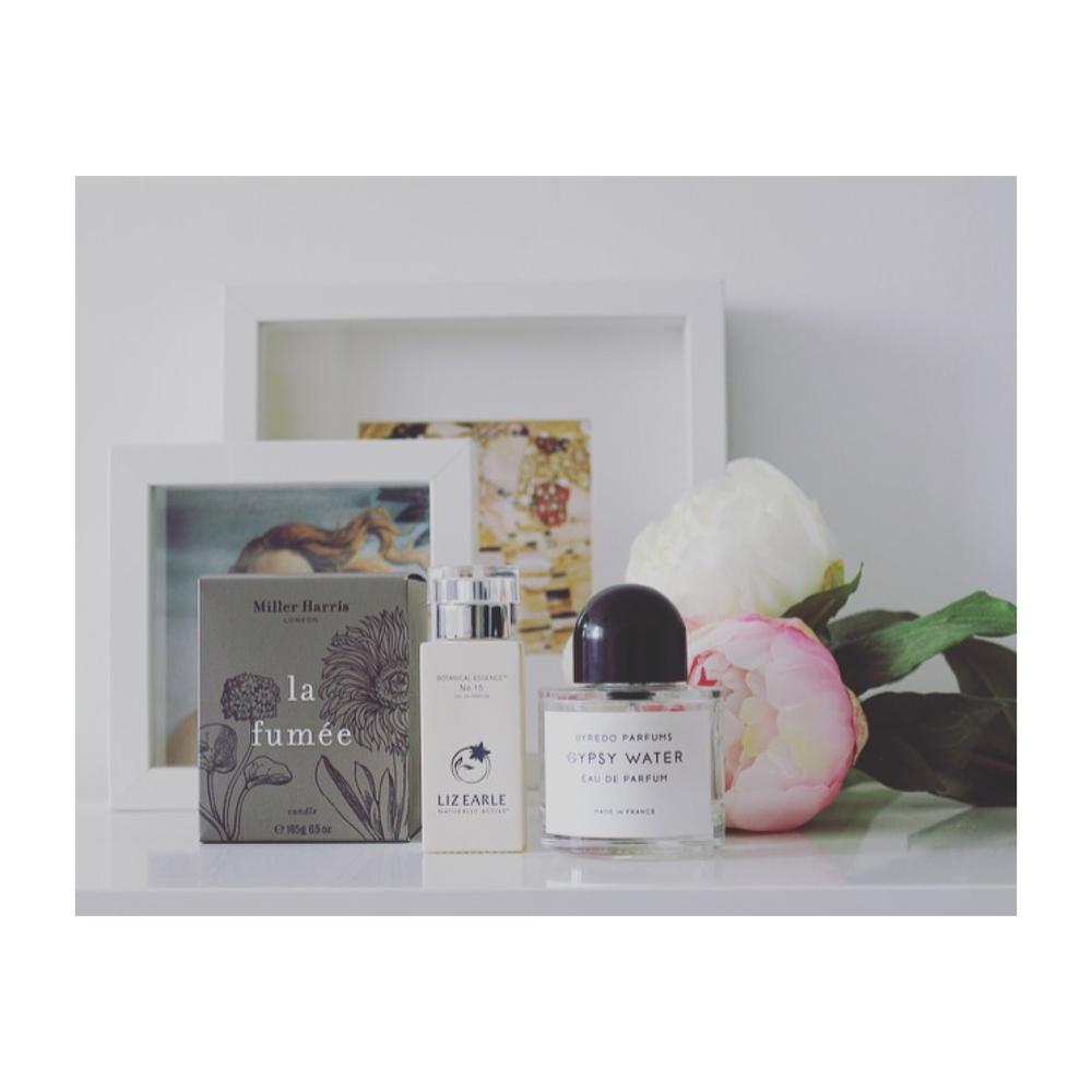 Miller Harris - La Fumée candle Liz Earle - No 15 perfume Byredo - Gypsy Water eau de parfum