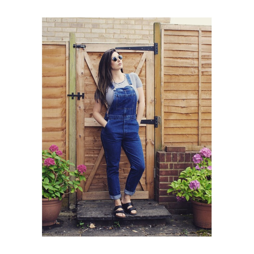Dungaree's - Topshop    Crop striped tee - Zara  Shoes - Birkenstock