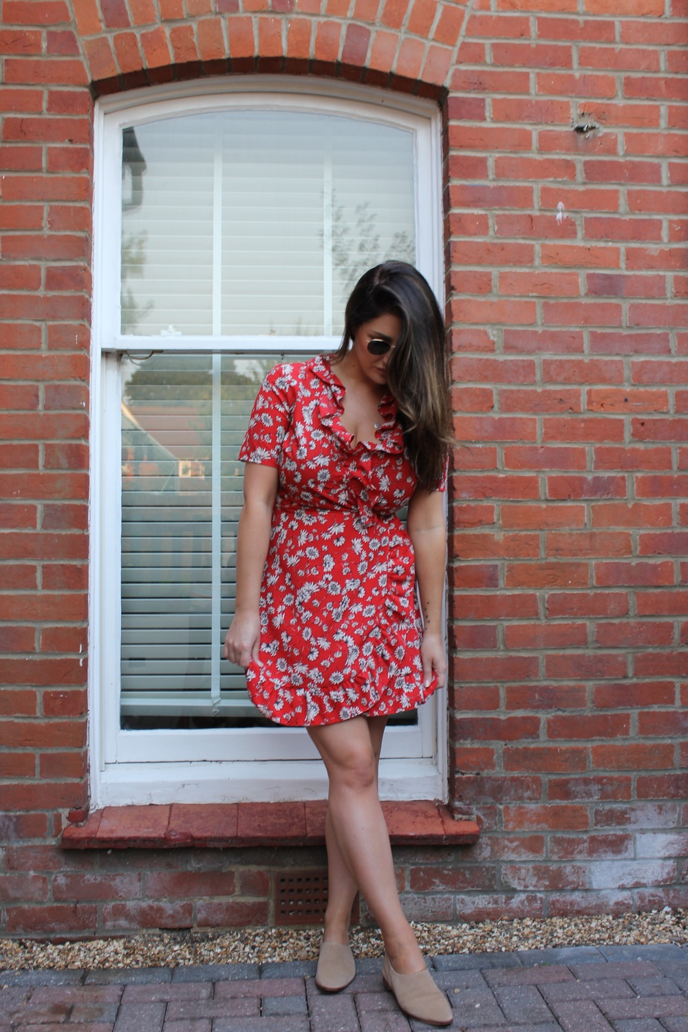 Dress - Topshop £42.00  Shoes - Zara  £29.99  Sunglasses - Rayban £135.00