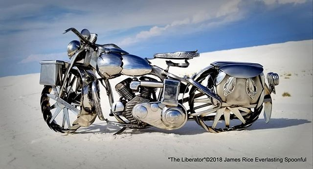 "Here is the other side of ""The Liberator"" spoon motorcycle sculpture. As always, made with all spoons.  #SpoonMotorcycle #JamesRice #WLA #WarBike #HD #HarleyDavidson #Harley #FineArt #EverlastingSpoonful #sculpture #art #motoart #metalart #veteran #motorcycleart #WWII"