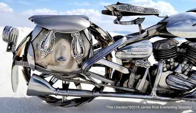 "Closer shot of the rear of ""The Liberator"" WLA spoon motorcycle sculpture. You can see the exhaust, saddlebags, sprocket, chain, and taillight profile.  #SpoonMotorcycle #JamesRice #WarBike #art #Harley #HarleyDavidson #WWII #motoart #motorcycleart #Veteran #Flathead #VTwin #EverlastingSpoonful"