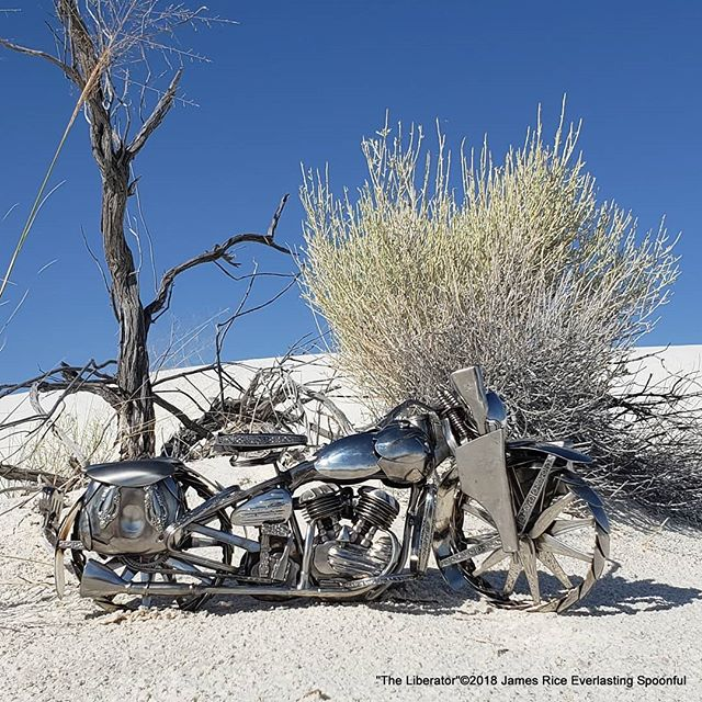 "Here is the original color photo of ""The Liberator"" spoon motorcycle sculpture. It took Grand Champion at the Otero County Fair!  #wildwest #SpoonMotorcycle #JamesRice #Harley #art #MotoArt #HD #WWII #EverlastingSpoonful #FineArt #WLA #Warbike #Veteran #HarleyDavidson #allspoons #spoons #motorcycleart #SpoonMotorcycle #chopper #purpleribbon #metalart #WhiteSands"