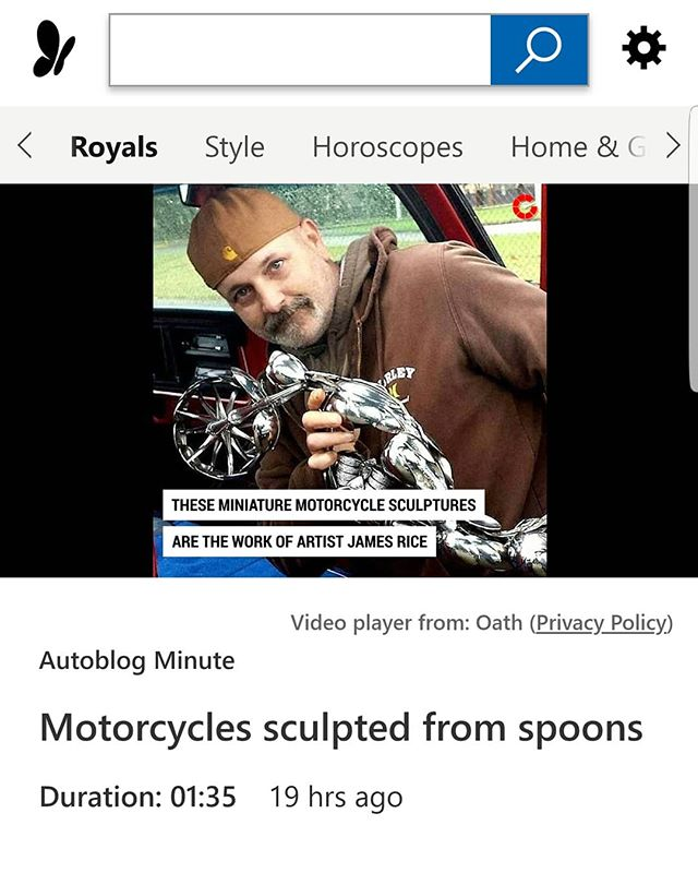 #MSNLifestyle article done about my spoon motorcycle sculptures this last week.  #SpoonMotorcycle #art #sculpture #JamesRice #motoart #EverlastingSpoonful #mototrcycleart
