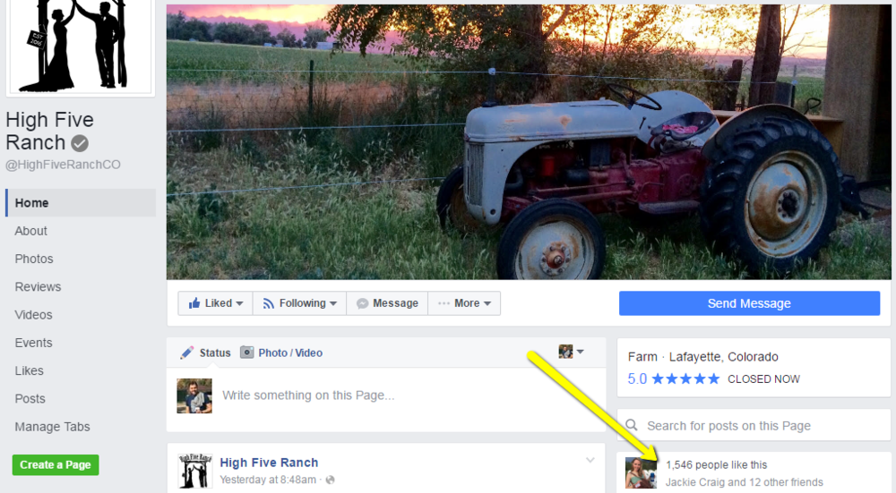 "High Five Ranch business page.  1,500+  Grows 20 new ""fans"" per day."