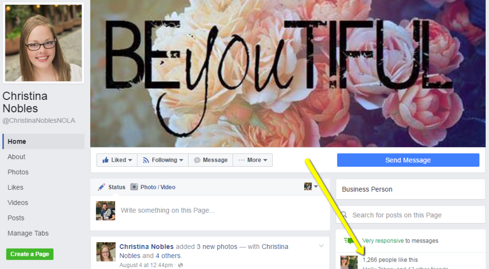 Christina Nobles business page, 1,200+ fans in 11 days.