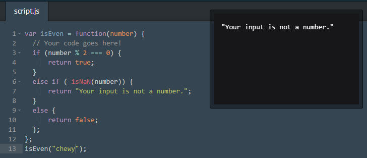 Codeacademy NaN lesson.