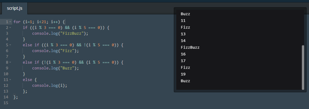 Code Academy FizzBuzz. This was a fun review. My logic is probably too wordy though.