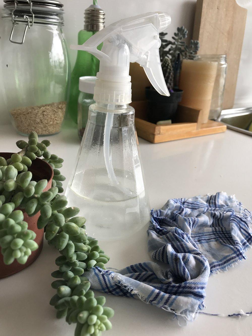 Desinfectante Basico - Esta es la mezcla básica de la que salen la mayoría de productos de limpieza para la casa. Funciona para cocina, baño, pisos, ventanas, espejos.Ingredientes:-Vinagre blanco-Alcohol-Agua destiladaPreparacion:Mezclar todos los ingredientes en un recipiente reusable, preferible con atomizador (puedes utilizar una botella vieja de alcohol).Baño: para la limpieza del baño, puedes agregar un poco de bicarbonato de sodio. No lo hagas directamente en la mezcla liquida, porque causara una reacción tipo volcán. Quieres que haga eso dentro del baño o lavabo para que limpie mejor.