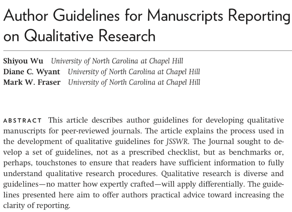 Author Guidelines for Manuscript Reporting on Qual Research