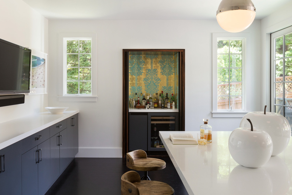 contemporary kitchen with wet bar