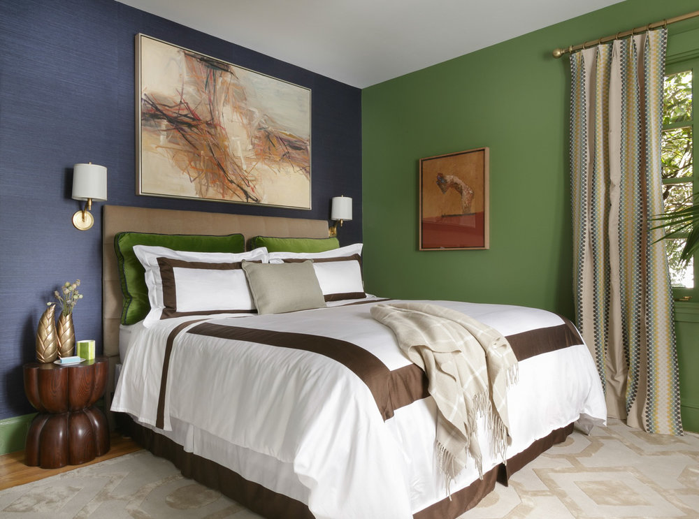 green and navy bedroom