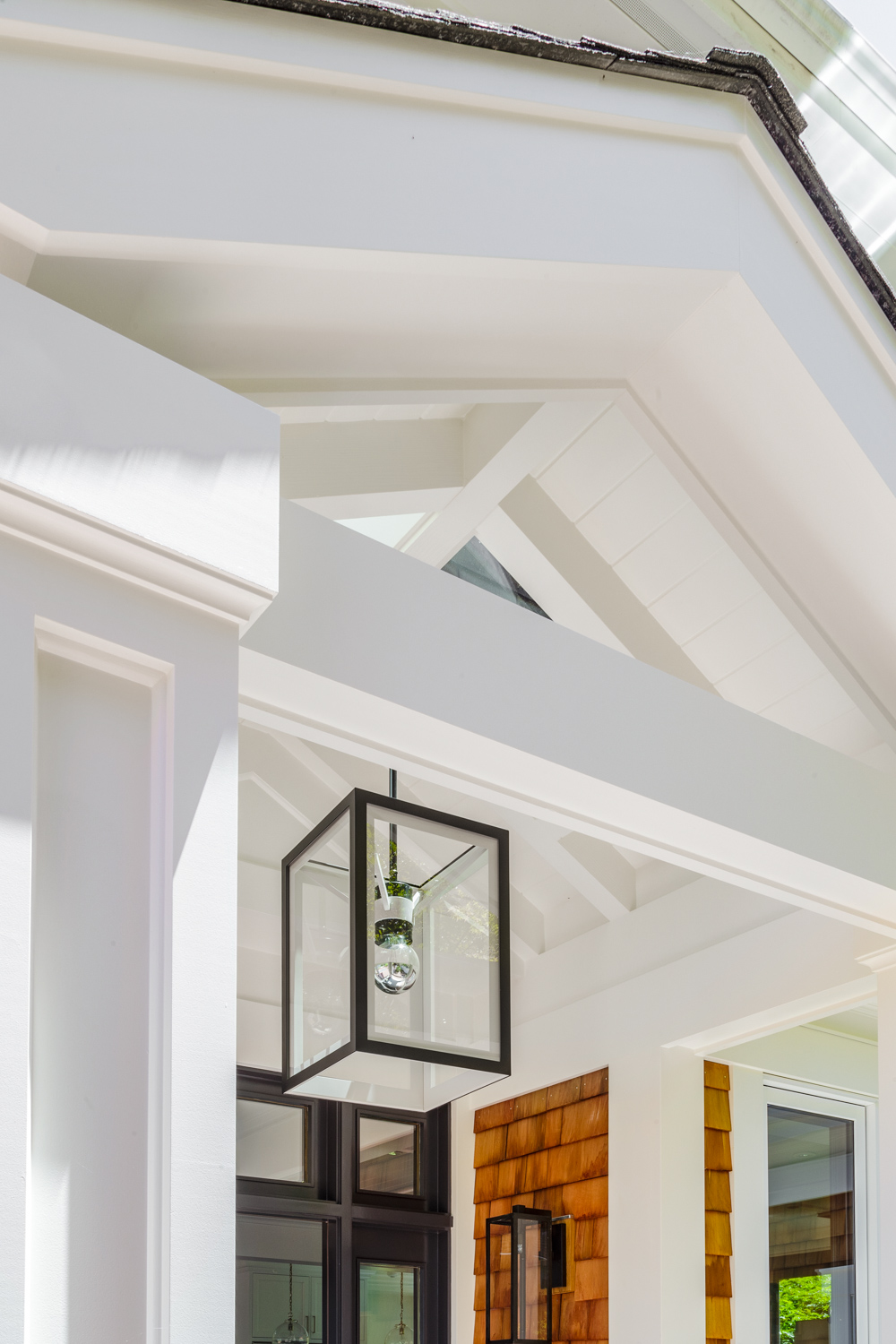 architectural entry to home with lantern