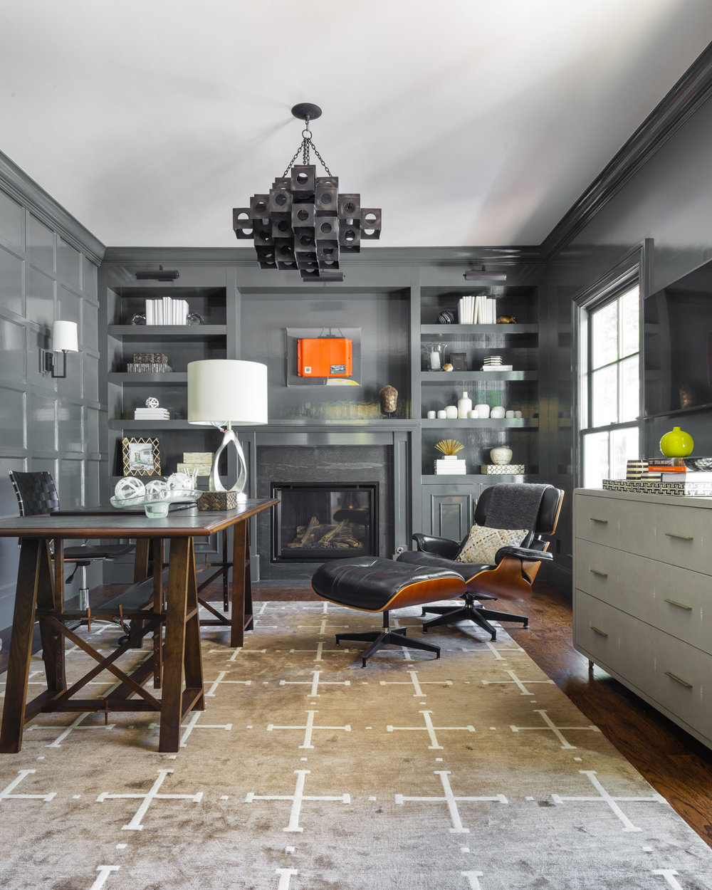 home office with gray lacquered walls