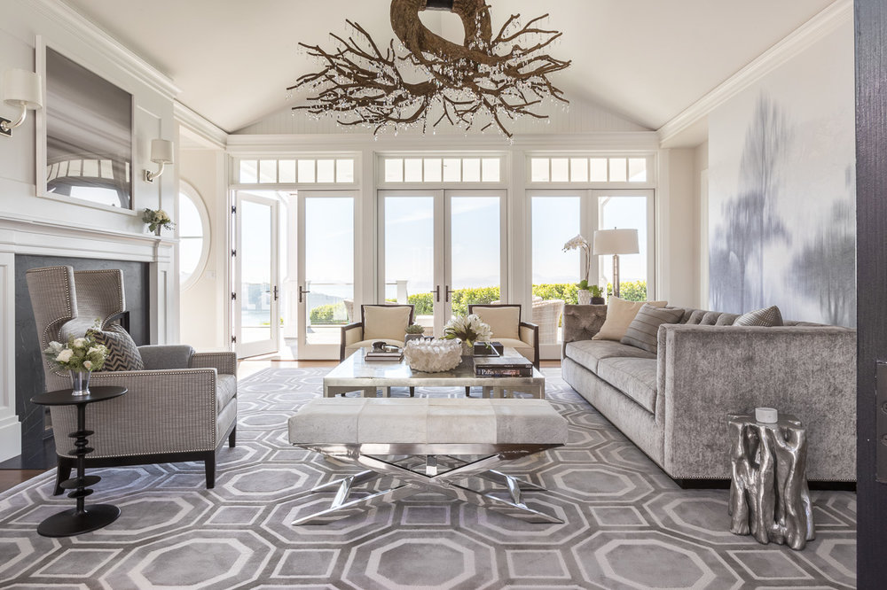 gray living room with view