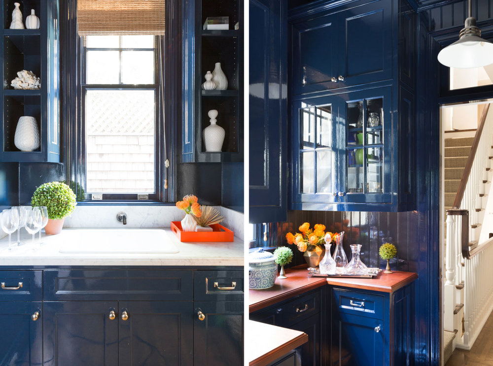 kitchen with navy lacquered walls