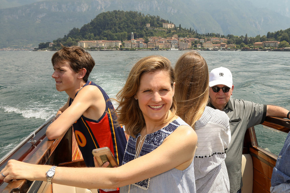 Boating on Lake Como with my son, niece, and step-dad