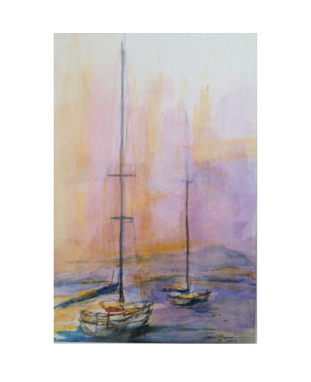 From the pier where the sailboats are docked in Santa Barbara is one of my favorite places to paint sailboats. Not only are the boats varried, the back drop of the ever so beautiful city Santa Barbara.