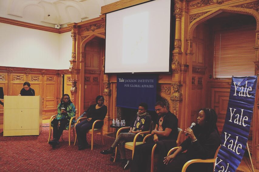 AFRICAN FILM FESTIVAL - New Haven, CT - Lande participated in a panel that discussed new opportunities in the African film industry at Yale University. Seated on the far right.
