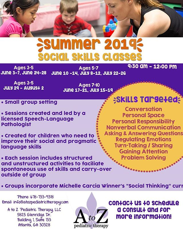 Check out our summer social skills groups for children ages 3-10!! Give us a call or visit the website in our bio if you have questions or want some more information.