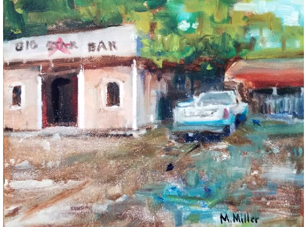"Big Star Bar   -  Oil  -  10"" x 8"""
