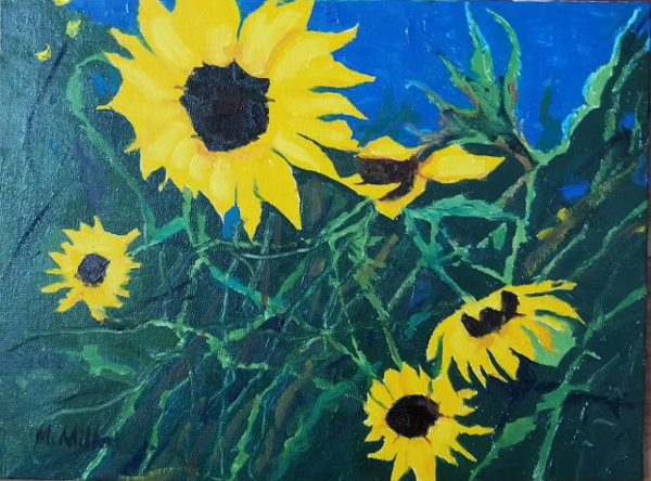 "Sunflowers 1  -  Oil  -  12"" x 9"""