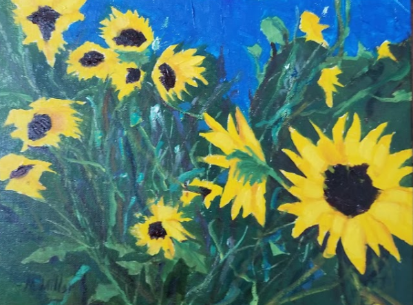 "Sunflowers 2   -  Oil  -  12"" x 9"""