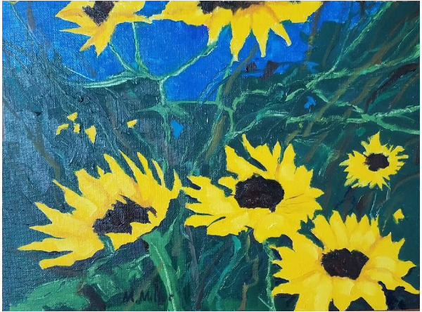 "Sunflowers 3   -  Oil  -  12"" x 9"""
