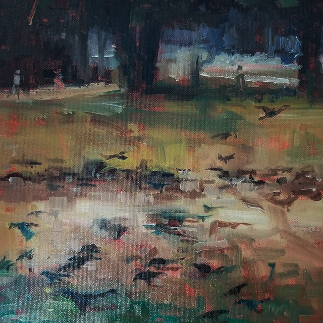 "Grackles   -  Oil  -  12"" x 12"""