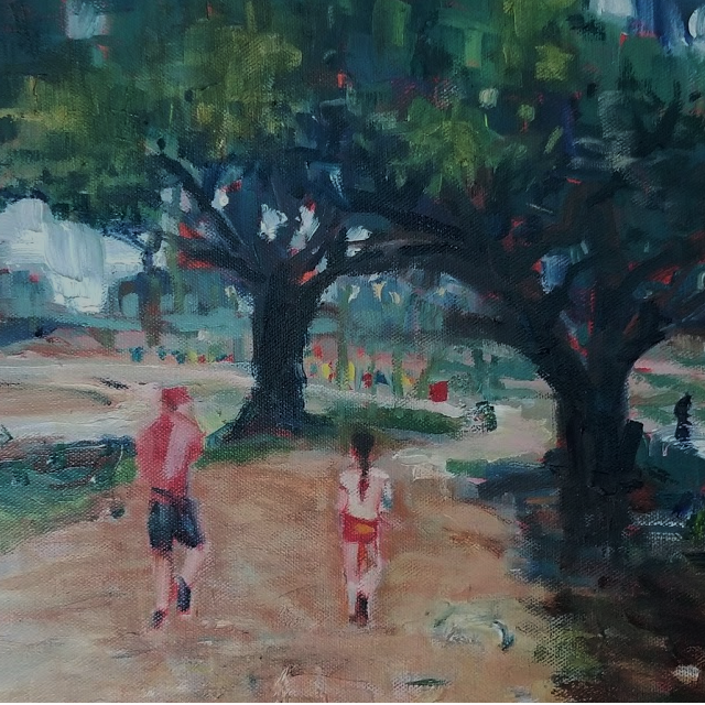 "Footfall   -  Oil  -  12"" x 12"""