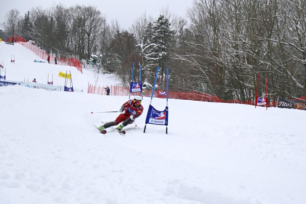 2018 U.S. Ski Team Member, Nolan Kasper, races on Tommy's World Cup at Waterville Valley Resort