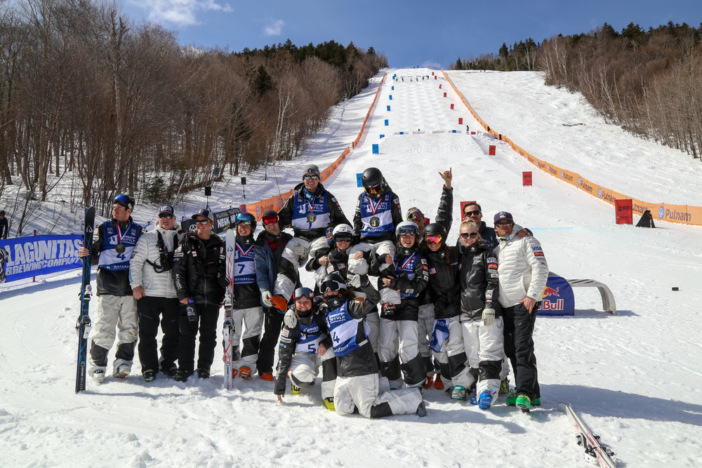 U.S. Ski Team Members Celebrate after the first day of Mogul Competition.